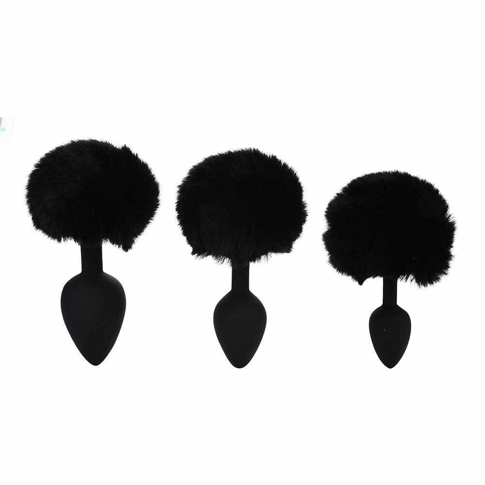 NoEnName_Null 3 Pcs Cauda de Coelho Plugue Anal plugue anal silicone Com Pompom Butt-Anals-Jogar Queda de Pedra de Nascimento grátis CSV O0108 #30