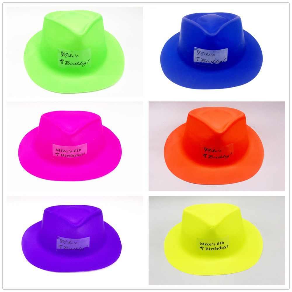 Персонализированные детские вечерние сувениры для мальчиков и девочек поздравительная открытка неоновые Гангстерские шляпы бассейн вечерние аксессуары пляжные вечерние сувениры