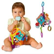 Купить с кэшбэком Cute Baby Toys Cartoon Animal Cube Book Plush Ball Teether Toys for Children Newborns Soft Books Stroller Hanging Rattles 0-12
