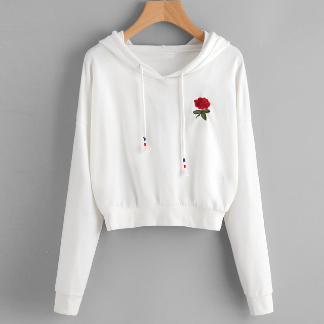 Aliexpress buy fashion women rose embroidered hoodie