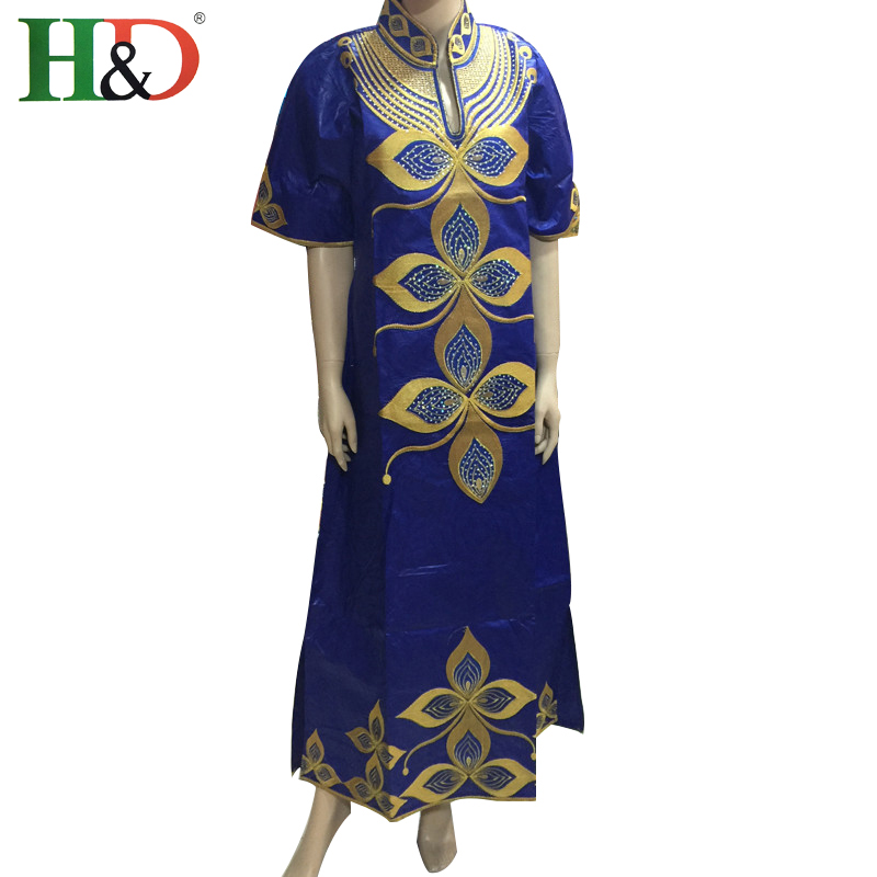 2016 New Fashion African Women Bazin  Embroidery 100% Cotton Cloth African Riche Georges Kaftan Lady dress Six Colors   S2403