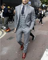(jacket+vest+pants) 2018 New brand Men's slim fit Business a three piece Suits/Male good groom dress/men Blazers
