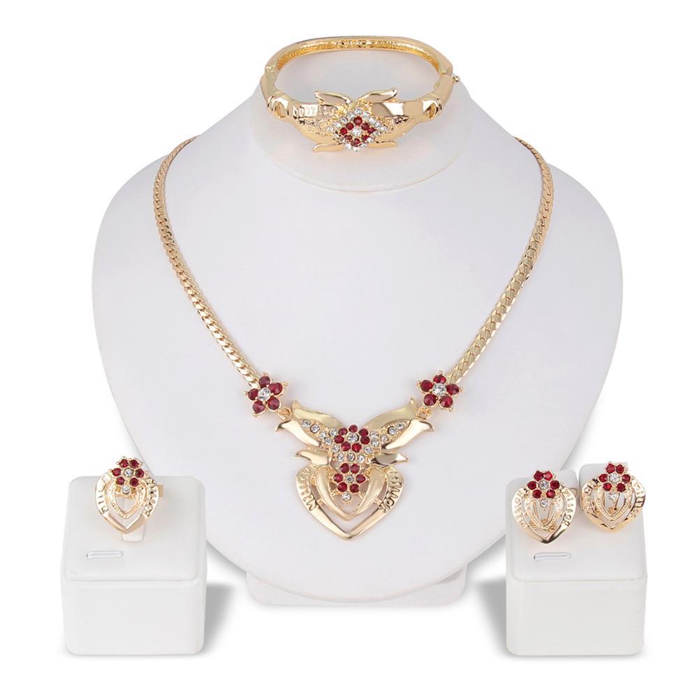 2020 New Fashion Women's Wedding Flower Rhinestone Ring & Earrings & Necklace & Bracelet ladies Jewelry Set for woman gift