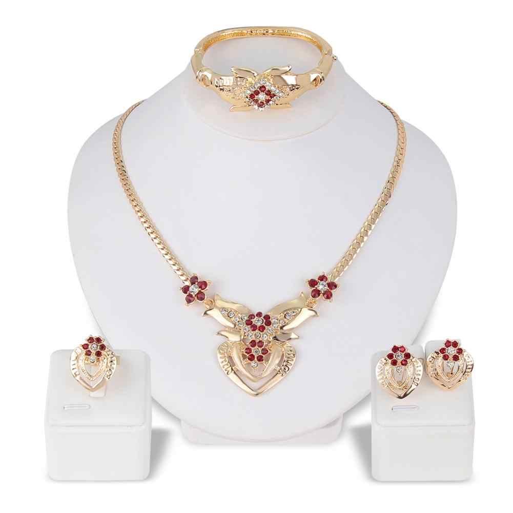 Women's Wedding Flower Rhinestone Ring Earrings Necklace Bracelet Jewelry Set new