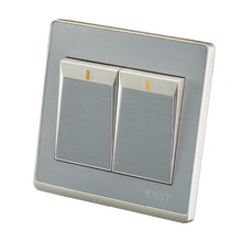 цена на Household 86 Wall Switch Stainless Steel Brushed Champagne Phnom Penh, Two Open Dual Control, PC 250V 10A