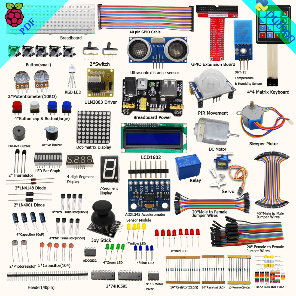 Adeept Free Shipping New Ultimate Starter Learning Kit for Raspberry Pi 3 2 Model B/B+ Python Book headphones diy diykit adeept diy electric new project lcd1602 starter kit for arduino uno r3 mega 2560 pdf free shipping book headphones diy diykit