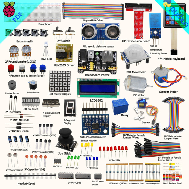 Adeept Free Shipping New Ultimate Starter Learning Kit for Raspberry Pi 3 2 Model B/B+ Python Book headphones diy diykit
