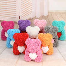 Red Heart Teddy Bear Flower Rose Artificial Christmas Gifts For Women Valentines Day Love Gift PE Bear of Rose Drop Shipping