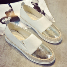 цена на Women Espadrilles Flats Shoes Mix Color Creepers Slip On Women Loafers Ladies Shoes Glitter Shoes Women