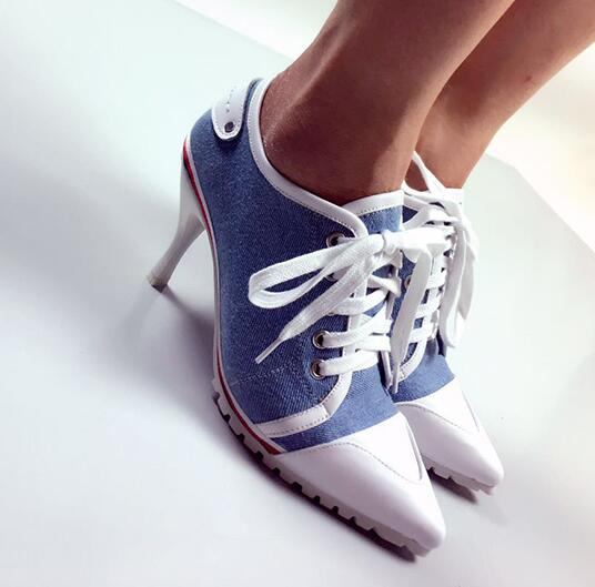 Heels Shoes Stiletto Ladies Denim Peep-Toe NEW Rubber Casual Autumn Sole Europe
