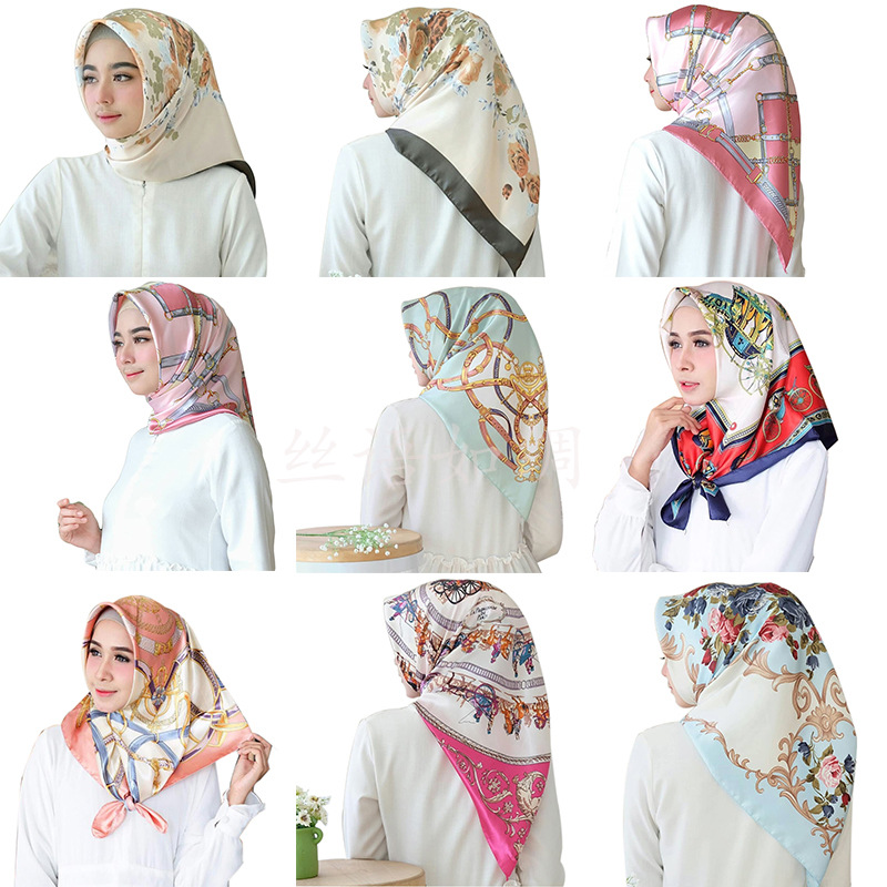 Print Women Square Silk   Scarf     Wraps   Autumn Winter Luxury Large Satin   Scarves   Muslim Head   Scarf   90*90cm