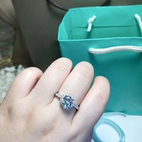 100% Pure 925 Sterling Silver Ring Set Luxury 0.5 ct CZ Diamant Wedding Rings for Women
