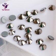 2058HF Jet Hematite SS6 SS8 SS10 SS16 SS20 SS30 Strass Hot Fix Crystal Stones Flat Back Glass Beads