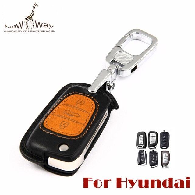 Cowskin Genuine Leather Car Remote Key Cover Car Key Wallet with Car Keychain for Hyundai IX35 Sonata Mistra IX25 Elantra Tucson