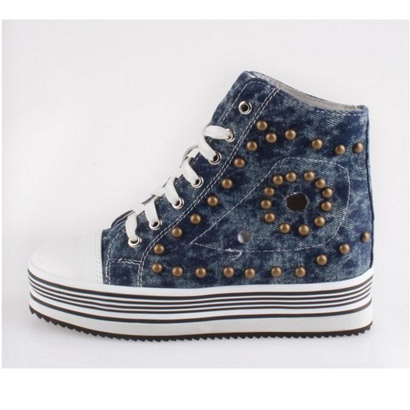 2017 new arrival punk rivets lace up flat platform low wedges rome women's single shoes thick sole denim canvas cut-outs shoes