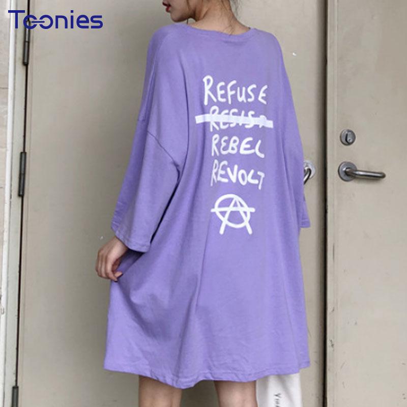 Summer New Oversized T Shirts Women Long T-shirt Casual Loose Letters Printed Split Elegant Harajuku Streetwear Tees Female Tops