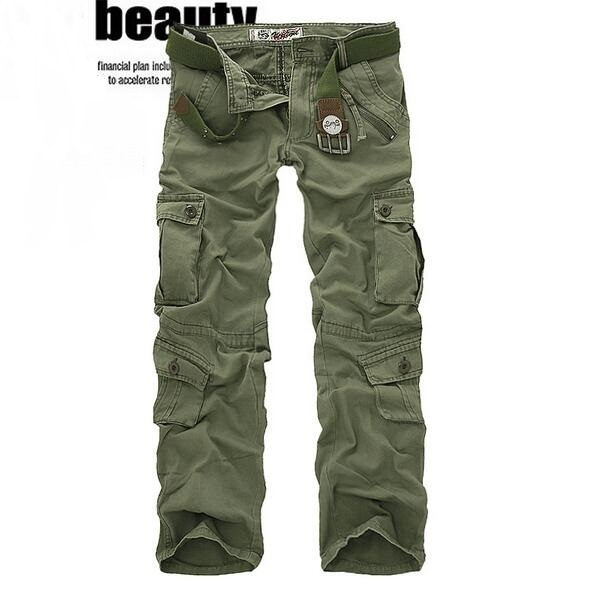 Baggy Cargo Pants Men Multi Pockets 2017 New Fashion Male Casual Cargo Cotton Trousers Plus Size Free Shipping
