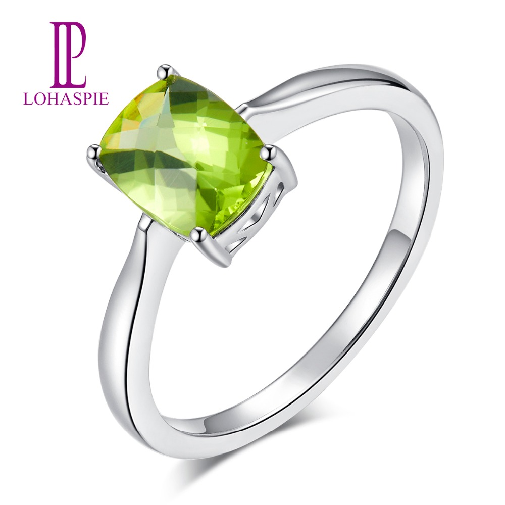 LP Cushion 1.33ct Natural Peridot Rings For Women Real 14K White Gold Ring Fine Jewelry 2018 New Arrival On Sale
