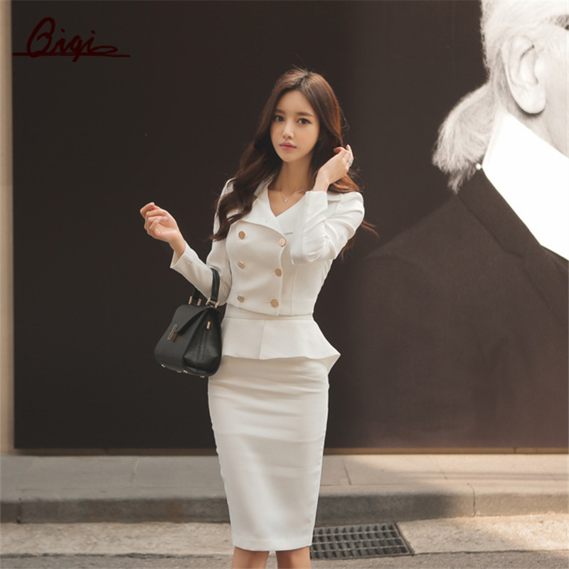 Qiqi-2-Piece-Set-Women-2016-Winter-White-black-double-breasted-Business-Flouncing-Slim-Crop-Top (1)