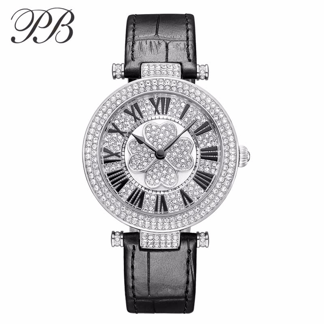 8e0c9be4 PB Brand Watches Women Luxury Silicon Band Watch Austria Crystal Watch  Fashion Ladies Wristwatch Watch MOP