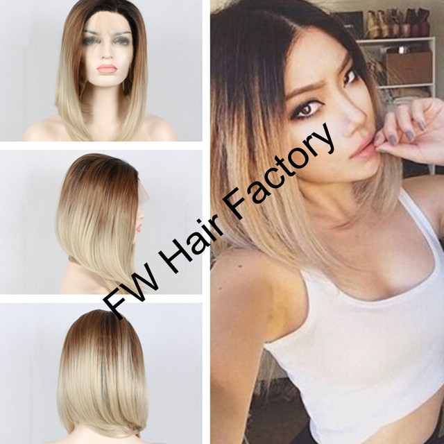 Brown Blonde Ombre Black Roots Long Bob Hairstyle Short Blonde