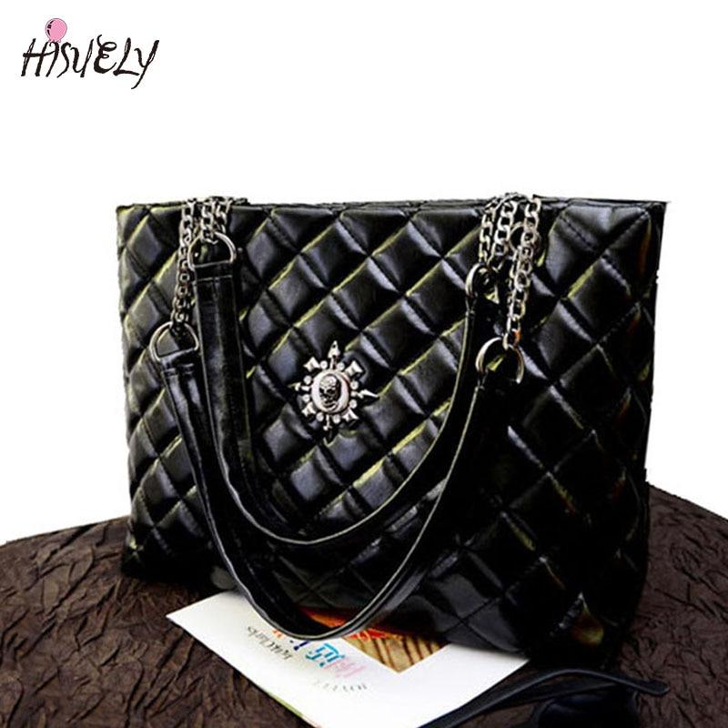 HISUELY New Fashion Diamond Women Shoulder Bag With Chain Female Tote Messenger bags Big Soft Bag BAGM6234
