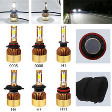 2Pcs H4/H7/H11/H1/9005/9006 72W 16000LM Super Bright COB LED Headlight Canbus Car Auto Hi/Lo Beam Bulbs 6000K White Car Styling(China)