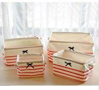4pcs/set Storage Basket England style laundry case Linen storage bag Cloth organizer Washing room Storage Case