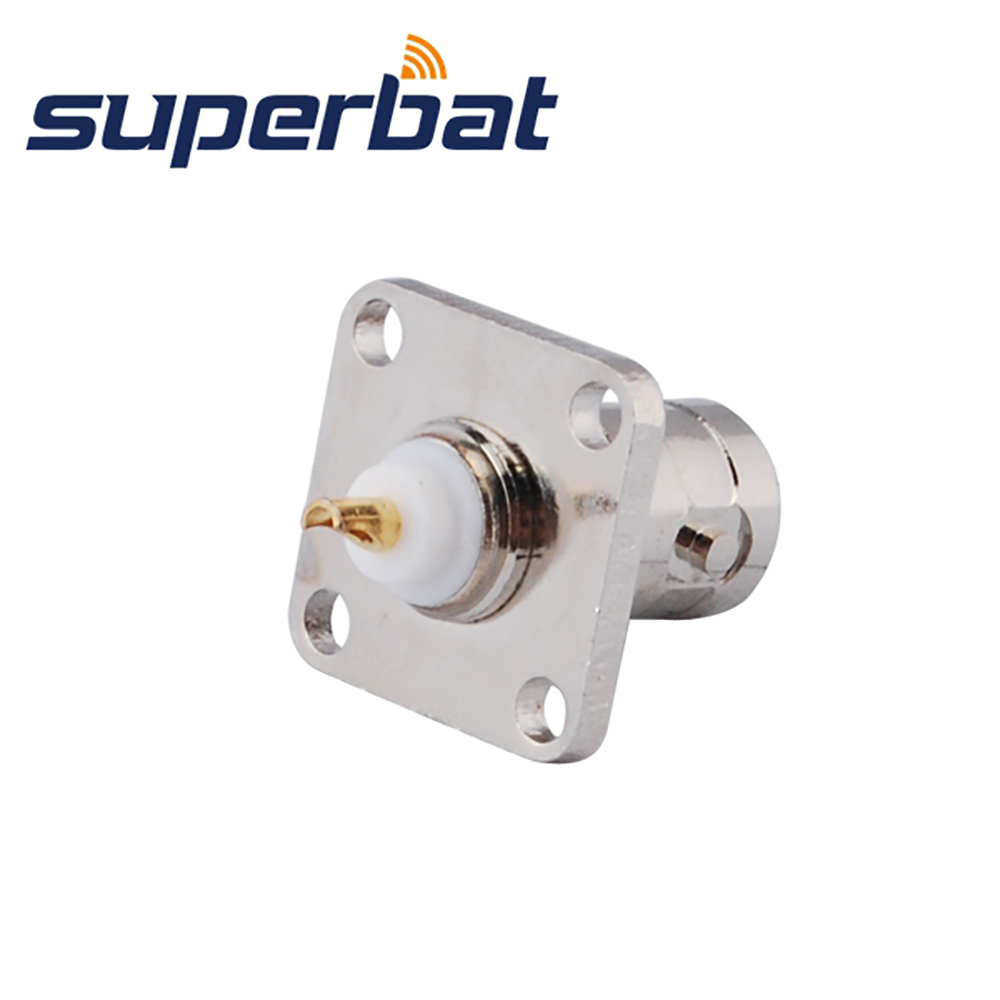 Superbat BNC 4 Hole Panel Mount Jack with solder Cup Straight RF Coaxial Connector