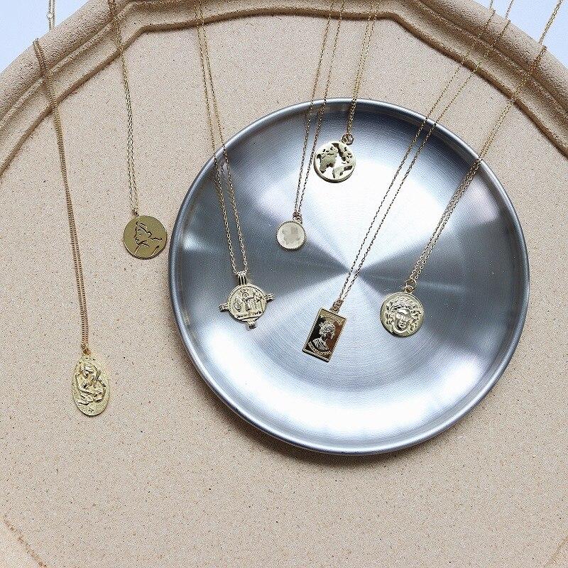 Echt 925 Sterling Splitter Römischen Münze Anhänger Halsketten Vintage Layered Halsband Kolye Minimalistischen Disc Boho Colliers Halskette Schmuck