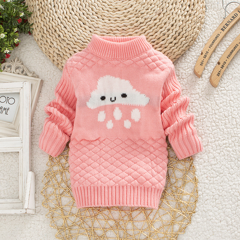 DIIMUU Baby Boys Girls Clothing Casual Print Winter Warm Long Sweater Kids Fashion Clothes Outdoor Leisure Tops 1-3 Years 6