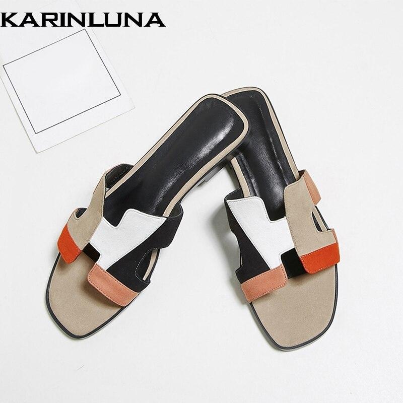 Karinluna 2019 marque conception dropship véritable peau de mouton en cuir pantoufles femme chaussures plat couleurs mélangées femmes chaussures d'été diapositives