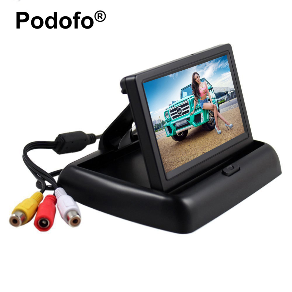 Podofo 4.3 inch HD Foldable Car Rear View Monitor Reversing Color LCD TFT Display for Truck Vehicle Backup Rearview Camera diysecur 4pin dc12v 24v 7 inch 4 split quad lcd screen display rear view video security monitor for car truck bus cctv camera