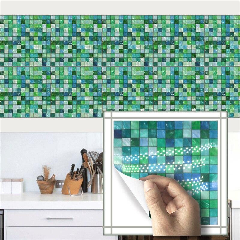 10pcs/set 20x20cm Retro DIY Cabinets <font><b>Tile</b></font> Stickers PVC Bathroom Kitchen Waterproof Wall Sticker Home Decor Self Adhesive Decals