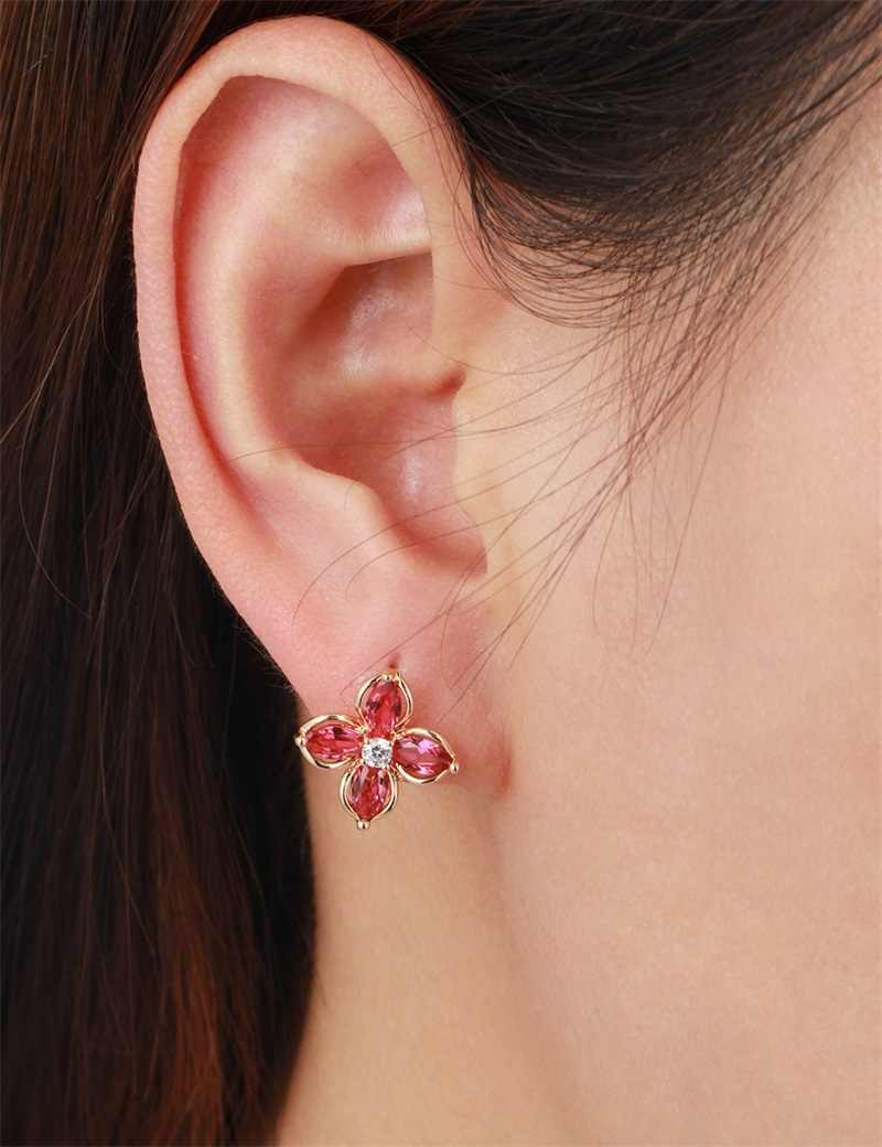 Marquise Cross สีแดง CZ ดอกไม้สี่กลีบ Clover Huggie ต่างหูขนาดเล็กสำหรับผู้หญิงสีเหลืองทองเครื่องประดับ Aros aretes