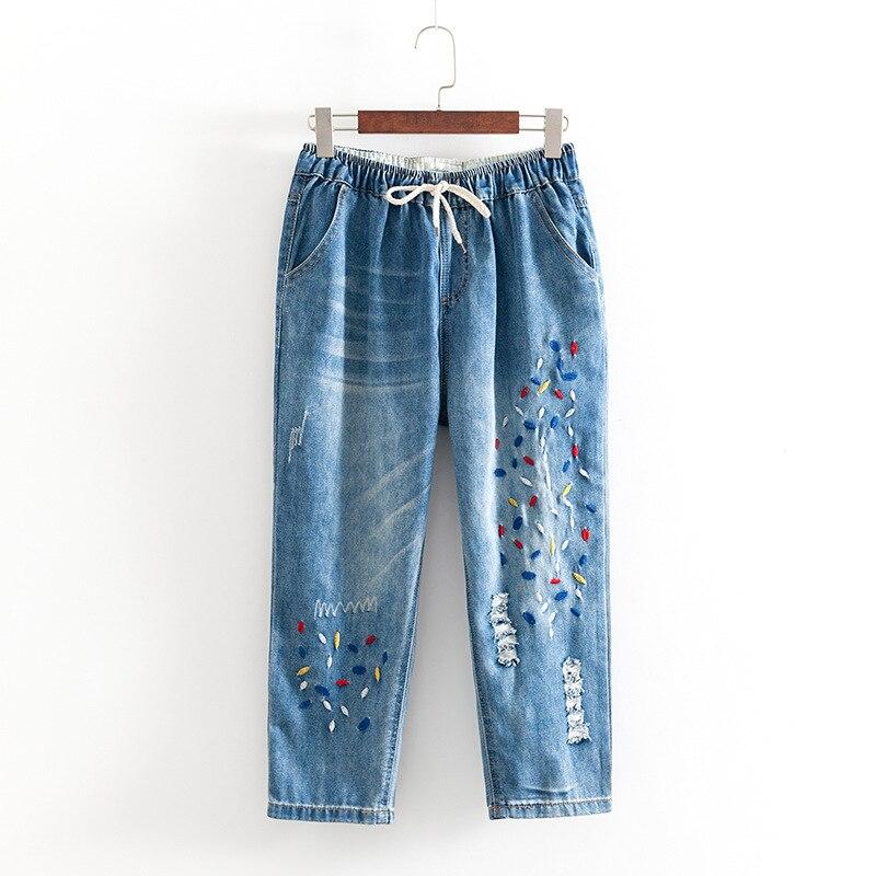 add04d93587a Allentata In Il Formato Harem 2019 3xl Del Donna Pantalone Vita Blue  Pantaloni lunghezza Foro Denim ...