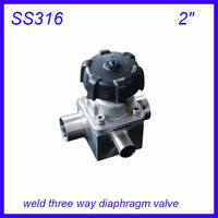 2 SS316L Sanitary stainless steel weld three way manual diaphragm valve sterile food grade f Wine, milk, beverages