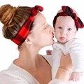 2 pçs/set Pai-Filho Mãe Do Bebê Crianças Plaid Dots Hairband Bowknot Headband Headwear Acessórios Fotografia Adereços WS213