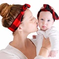 2pcs/set Parent-child Mom Baby Toddlers Plaid Dots Hairband Bowknot Headband Headwear Accessories Photograph Props WS213