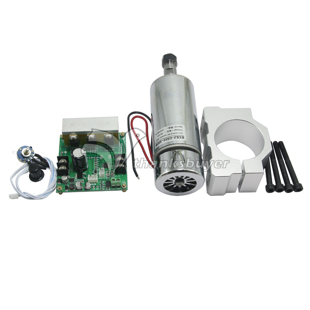 CNC ROUTER MILLING Air Cooled 0.4KW Spindle Motor & PWM Speed Controller & Mount new 1 5kw air cooled spindle motor kit cnc spindle motor 220v 1 5kw inverter square milling machine spindle free 13pcs er11