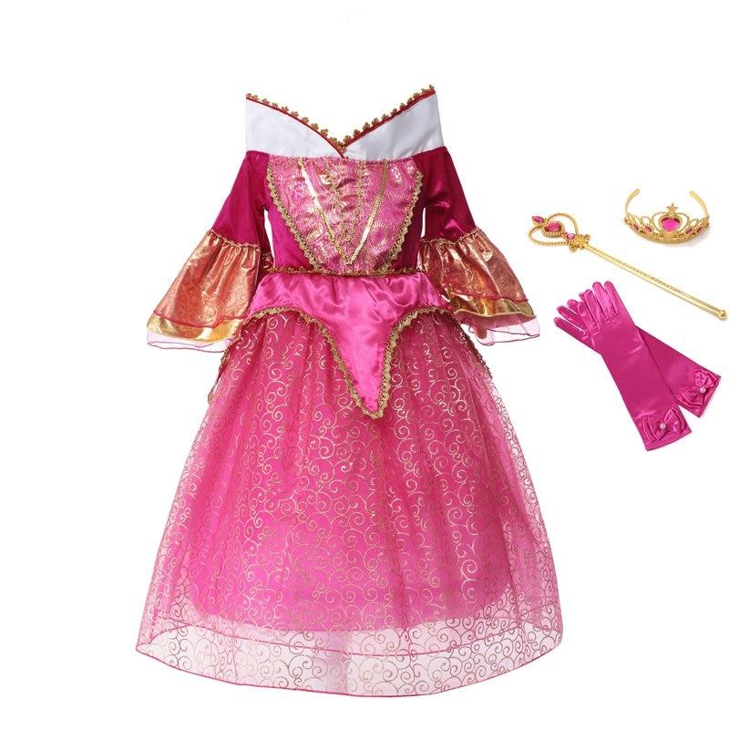 VOGUEON Girl Sleeping Beauty Dress Kids Floral Flare Sleeve Princess Cosplay Costume Aurora Birthday Halloween Party Dress up цена 2017