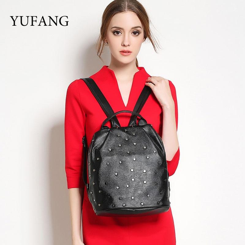 YUFANG Brand Revit Backpack For Teenage Girls Genuine Leather Backpacks With Revits Bags Fashion Female School Daypack Bag чулок д щитков nike guard lock elite sleeve su12 se0173 011 l чёрный