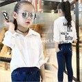 Modelo outono comércio do sul da menina roupa da menina das crianças crianças Coreano camisa de manga longa camisa do único original carta