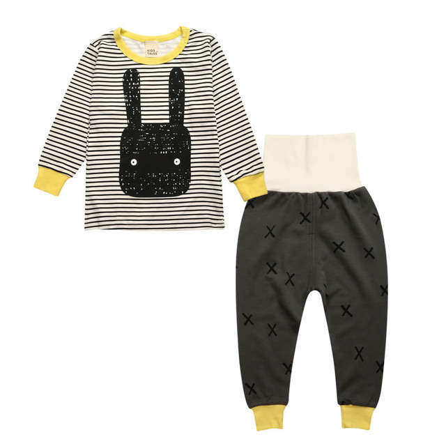 Puro Algodón de Los Niños de Los Bebés Del Pijama de Dibujos Animados 2 unids ropa de Noche Homewear de Manga Larga Pijamas Pijamas set