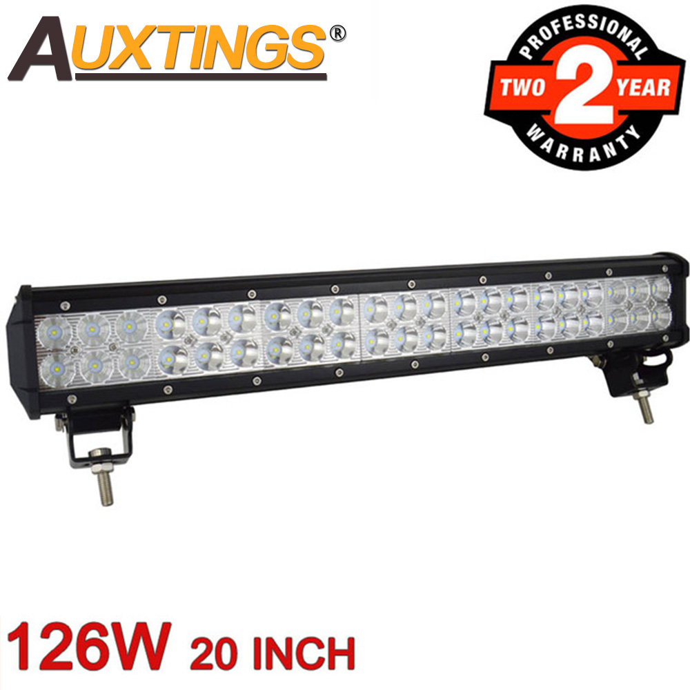 Auxtings 126 W 20 pouces ATV UTV faisceau combiné double rangées CE RoHS 4x4 offroad LED barre lumineuse de travail pour camion