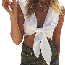 2016 Summer Women Tank Top Sexy Deep V Neck Short Crop Tops Sleeveless White Color Casual Vest Haut Court Femme Blusas Femininas