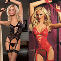 WAHO New Women's Sexy Lingerie Sexy Costumes Fantasias Eroticas Lace Sexy Dress + G-String + Handcuff + Garter Free Shipping