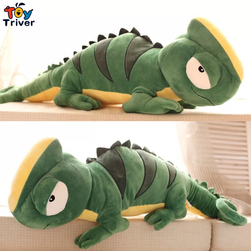 Kawaii Plush Green Lizard Chameleon Iguana Toy Giant Stuffed Animal Doll Baby Kids Children Birthday Gift Home Shop Decor Triver plush pink angel pig toy stuffed animal doll pigs baby kids children kawaii birthday gift home shop decoration ornament triver