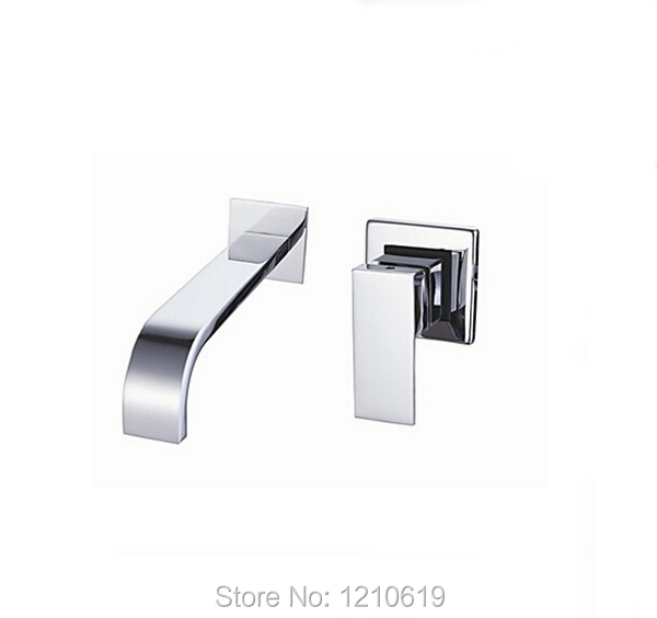Newly Contemporary Bathroom Basin Faucet Chrome Finish Waterfall Spout Sink Vessel Faucet Mixer Tap Single Handle Wall Mounted luxury wall mounted bathroom basin faucet single handle golden finish sink mixer