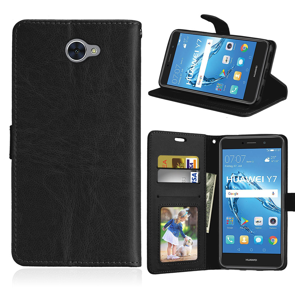 Wallet Case For Huawei Y7 / Nova Lite Plus Flip Cover For Huawei Y 7 Stand Holder 3 Card PU Leather Cases Magnetic Plain Shells
